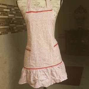 Cute hearts red and white apron with pockets
